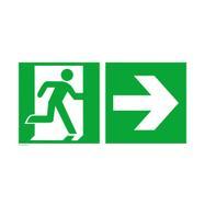 Issue de secours avec flèche directionnelle vers la droite
