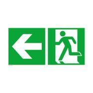 Issue de secours gauche avec flèche directionnelle vers la gauche