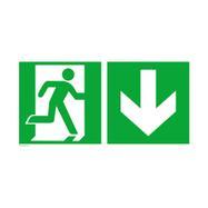 Issue de secours droite avec flèche directionnelle vers le bas