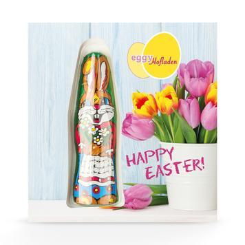 Carte en carton avec lapin en chocolat, imprimée individuellement