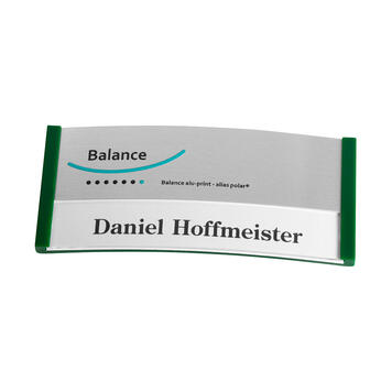 "Badge ""Balance Alu-Print"" avec impression incluse"