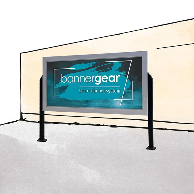 """Panneau Bannergear® """"socle en béton"""", 2 côtés"""