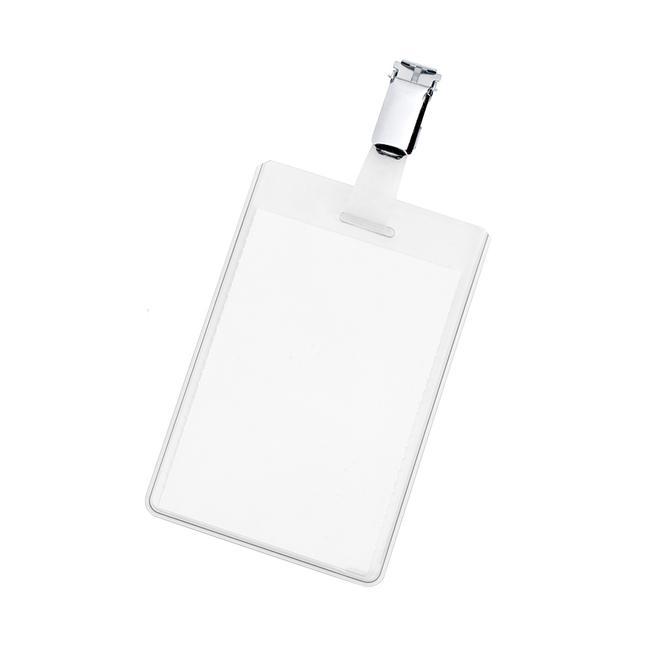 Badge d'identification avec clip métallique
