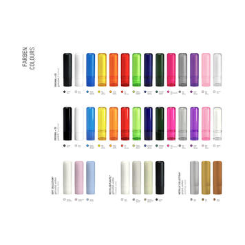 Article promotionnel stick pour les lèvres en différentes couleurs